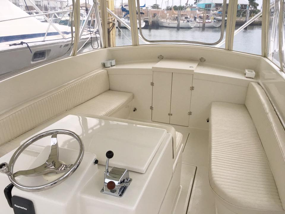 Inside of white fishing charter boat